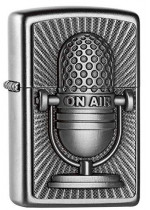 """On Air"" Microphone Retro Emblem Zippo"