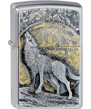Wolf at moonlight emblem Zippo 21803