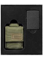 Sada Tactical pouzdro & Black Crackle Zippo - zelená